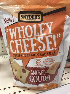 """Snyder's of Hanover """"wholey cheese!"""" Crispy baked crackers Smoky Gouda"""