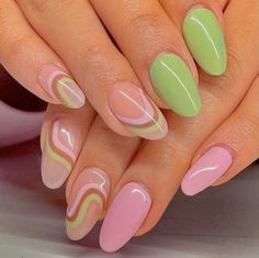 Aycrlic Nails, Oval Nails, Hot Nails, Manicure, Hair And Nails, Spring Nail Art, Spring Nails, Spring Nail Trends, Funky Nails