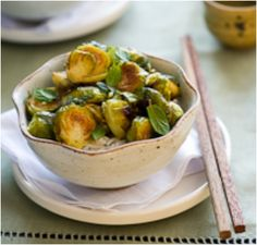 Roasted Brussels Sprouts with Sriracha and Mint