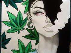 This HD wallpaper is about cannabis, marijuana, weed, Original wallpaper dimensions is file size is Trippy Drawings, Art Drawings, Drawing Art, Foto Piercing, Marijuana Art, Medical Marijuana, Cannabis Oil, Stoner Art, Weed Art