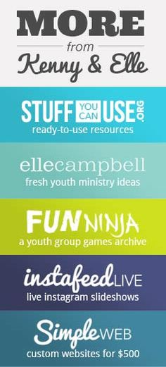 Blog and websites with youth ministry ideas.