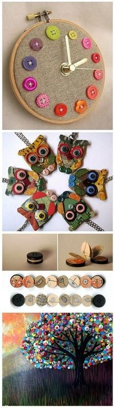 Beautiful Button Crafts | DIY & Crafts Tutorials!  I LOVE BUTTONS!  I will HAVE to try these crafts!