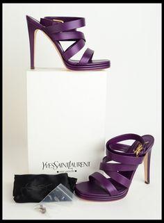 YVES SAINT-LAURENT. Montag 105. Straps. Platform sandals. Purple.