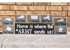 """Army ; Home is Where the ARMY send us!*** Wooden """"Duty Station Set""""#Army #military #HomeiswheretheArmysendsyou"""