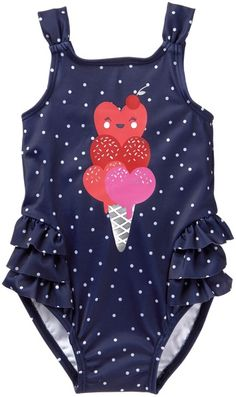 Toddler Girl Night Navy Dot Ice Cream Swimsuit by Gymboree Toddler Girl Bathing Suit, Baby Girl Swimsuit, Toddler Girl Outfits, Kids Outfits, 1 Piece Swimsuit, Baby Supplies, Cute Baby Clothes, Babies Clothes, Baby Kids