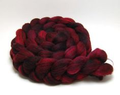 Handpainted Merino Silk Swirl Roving - Crush Crush Crush - 4 oz Red Burgundy