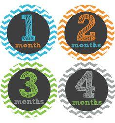 Chevron Baby Month Stickers