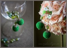 Green Pearl Earrings, Pearls, Green, Handmade, Jewelry, Fashion, Hand Made, Jewellery Making, Pearl Studs