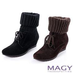 $1500-MAGY 紐約街頭時尚 2WAY襪套麂皮綁帶內增高短靴-黑色 - Yahoo!奇摩購物中心(黑剩55/75咖剩60/75)