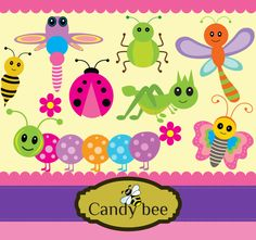 Cute Bugs digital clipart -includes butterfly, ants, caterpillar, grasshopper SAJ-428  Buy 2 get 1 Free, Buy 3 get 2 Free, Buy 4 get 3 Free! by CandyBeeDesigns on Etsy