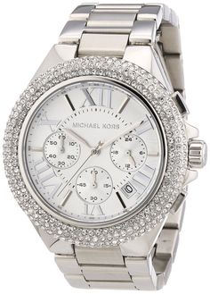 644b40389cac New Michael Kors Camille Silver Chronograph Crystal Wrist Watch for Women