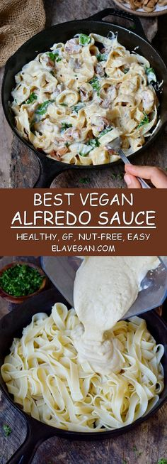 Best vegan Alfredo sauce recipe with cauliflower and mushrooms. This plant-based, nut-free (no cashews!) and gluten-free comfort meal is healthy, satisfying, and easy to make. The cashew-free sauce is perfect for dinner, lunch and meal prep as well! Dairy Free Alfredo Sauce, Vegan Alfredo Sauce, Alfredo Recipe, Alfredo Cauliflower Sauce, Healthy Alfredo Sauce Recipe, Dairy Free Recipes, Vegetarian Recipes, Healthy Recipes, Vegan Recipes