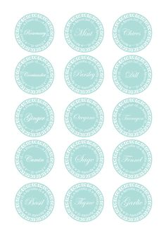 Kitchen Herb Jar Labels by Torie Jayne Herb Labels, Spice Jar Labels, Spice Jars, Kitchen Labels, Pantry Labels, Free Printable Tags, Free Printables, Organizing Labels, Kitchen Herbs