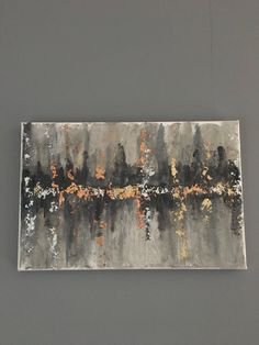 Excited to share the latest addition to my shop: Abstract grey canvas painting with copper, silver and gold leaf Copper And Grey, Acrylic Pouring Art, Cooler Painting, Grey Art, Paint And Sip, Gold Leaf, Art Tutorials, Canvas Wall Art, Art Projects