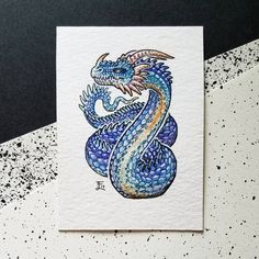 """76 Likes, 1 Comments - Emma Lazauski (@emmalazauski) on Instagram: """"Glacial Wyrm ACEO.  I decided to really go for strong colors in the scales of these three wyrms.…"""""""
