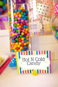 Hot and Cold candy at a Katy Perry birthday party! See more party planning ideas at CatchMyParty.com!