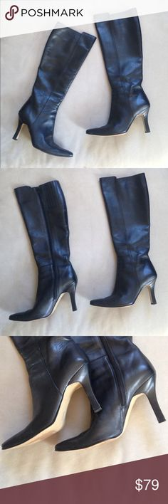 """🍂FALL BOOTS🍂VanEli leather heeled boots 🍂Beautifully made 3"""" heeled leather boots with side zip are in fabulous condition~only tiny flaw on insides as in last pic⚫️A MUST HAVE⚫️purchased @ Nordstrom Vaneli Shoes Heeled Boots"""