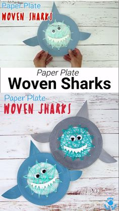 Build fine motor skills with this easy Paper Plate Shark Lacing Craft. This adorable shark craft is great for Shark Week, Summer craft sessions and ocean study units! Woven Sharks are a fun activity f Shark Activities, Preschool Crafts, Preschool Activities, Kids Craft Kits, Shark Games For Kids, Rainbow Fish Activities, Sharks For Kids, Spanish Activities, Summer Crafts For Kids