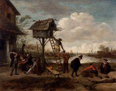 Jan Steen (1626-1679 Leiden Leiden) The Dovecote panel, 36.8 x 47.5 cm
