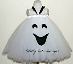 Ghost Tutu Dress...Halloween Tutu Dress.....Infant Toddler Ghost Costume....Baby Halloween Costume....Girl Ghost Costume