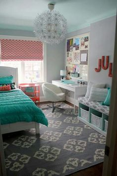 Pottery barn teen Bedroom. I really like the color of the bedspread and the curtains.