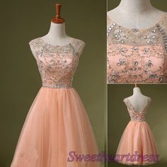 Vintage pink tulle round neck open back beaded A-line mini prom dress for teens, bridesmaid dress, homecoming dress #promdress -> http://sweetheartdress.storenvy.com/products/13742598-pink-round-neck-tulle-beaded-a-line-mini-prom-dresses