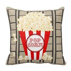 "Amazon.com - 18"" x 18"" Movie Theater Popcorn and Film Pillowred Throw Pillow Decorative Throw Pillow Case Cushion Cover -"