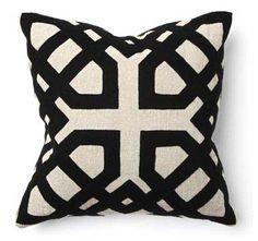 "Khwai Applique Black 18"""" x 18"""" Pillow design by Villa Home by: Burke Decor"