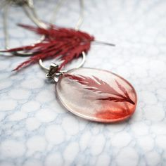 Red Leaf Necklace Botanical Resin Jewelry