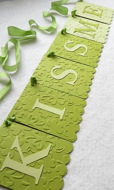 Kiss Me Banner St Patrick's Day Decor  by FreshLemonBlossoms, $12.00 - Take green card stock and glue on the letters attach ribbon