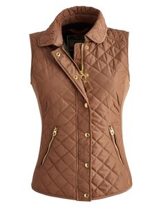 Joules Women's Premium Trim Vests, Wholemeal.                     When the temperature drops this is the vests to keep close to hand. Quilted with side rib panels to add definition and shape it's a real slim-fit favourite. Look out for our new season print lining too.