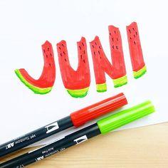It's sooo hot today, I'm melting... -- #summer #sun #toohot #melon #melone #lettering #handlettering #juni #sommer #miristheiß #tombow #tombowusa #brushpen #yummy