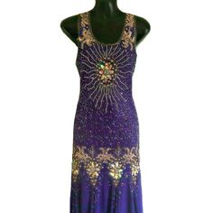 1920s Vintage Style, Great Gatsby Dress, Gold Embellished Purple Maxi Dress, Downton Abbey, Bohemian, 20s Beaded Flapper, Long Prom Dress, M
