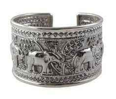 "7"" Elephant Engrave Sterling Silver Band Cuff Bracelet 
