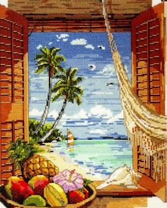 Janlynn Counted Cross Stitch Kit x Tropical Vacation Window 023 0382 Counted Cross Stitch Kits, Cross Stitch Charts, Cross Stitch Patterns, Cross Stitching, Cross Stitch Embroidery, Cross Stitch Landscape, Needlework Shops, Holly Hobbie, Windows