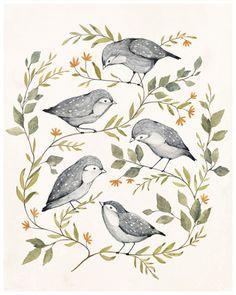 Bird Family Art Print - KelliMurrayArt on Etsy Art And Illustration, Illustration Inspiration, Art Inspo, Art Paintings, Original Paintings, Art Design, Bird Art, Painting & Drawing, Watercolor Art