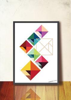 Tangram arte geométrico abstracto Poster A3, decoración de la pared, mediados siglo moderno, escandinavo diseño diseño inspirado, buen estado de ánimo. Rojo, azul, amarillo