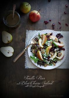 Forelle Pear and Blue Cheese Salad with Maple Vinaigrette | @tasteLUVnourish | #salad #healthy #pear #cranberries #walnuts #bluecheese #maple