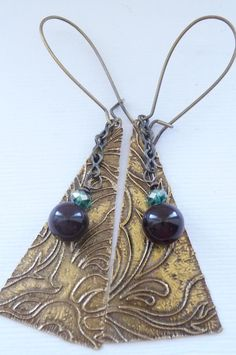 Etched Brass Earrings. $25.00, via Etsy.
