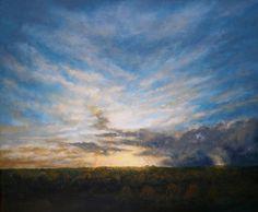 Sunset - Le Dorat, France. Acrylic on canvas. 65 x 54 cm