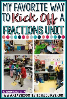 """My Favorite Way to Kick Off a Fractions Unit: Have fun introducing fractions with fraction play stations. Your students will enjoy this mode of kinesthetic learning while they work with the fraction vocabulary terms: """"numerator"""" and """"denominator"""". 3rd Grade Fractions, Teaching Fractions, Fifth Grade Math, Math Fractions, Teaching Math, Fourth Grade, Equivalent Fractions, Maths, Dividing Fractions"""