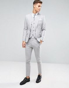 ASOS Skinny Suit In Ice Gray