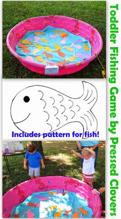 Toddler Birthday Party Fishing Game 2 year olds, 3 year olds, 4 year olds, go fish. Find more at Pressed Clovers blog