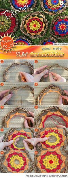 at - Instructions: Dream Catcher Sun – Spiral Pattern Series // Buntwerkstatt. Dream Catcher Patterns, Dream Catcher Craft, Yarn Crafts, Diy And Crafts, Spiral Pattern, Color Crafts, Nature Crafts, String Art, Fiber Art