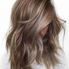 Layered Medium Length Hair + Soft Blonde Balayage Highlights