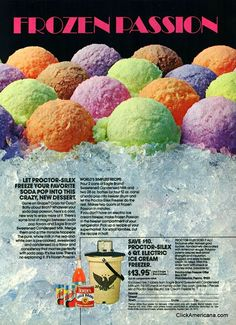 1973 vintage ad - how to make soda pop flavored ice cream