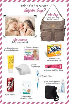 What's in your diaper bag? This one will be mine... Dr. Pepper? HELLO! a necessity
