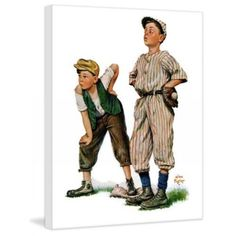 """Marmont Hill 36 Inch x 30 Inch """"Team Players"""" Giclee Art Print Home Decor Wall Decor Canvas Art Peintures Norman Rockwell, Norman Rockwell Art, Canvas Art Prints, Painting Prints, Baseball Art, Vintage Art, The Fosters, Graphic Art, Portraits"""