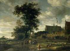 Salomon van Ruysdael (Dutch c. 1602–1670)- Scène voor een meiboom met de kerk van Alkmaar op de achtergrond