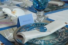 Hanukkah table setting, jewish holiday table setting, Love the Orchid